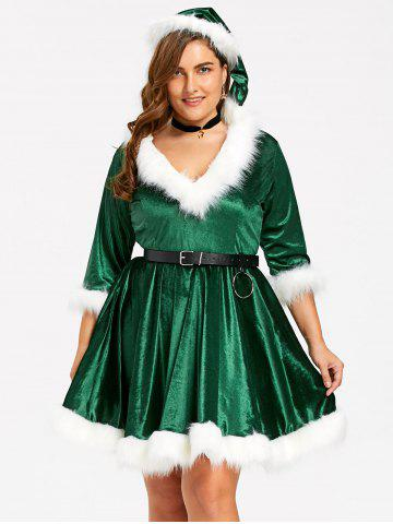 Hot Plus Size Faux Fur Panel Velvet Christmas Dress with Hat - 3XL GREEN Mobile