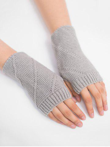 Shops Outdoor Striped Pattern Exposed Finger Knitted Gloves
