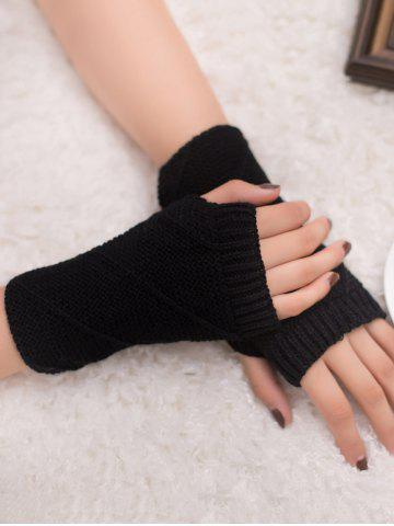 Fancy Outdoor Striped Pattern Exposed Finger Knitted Gloves BLACK