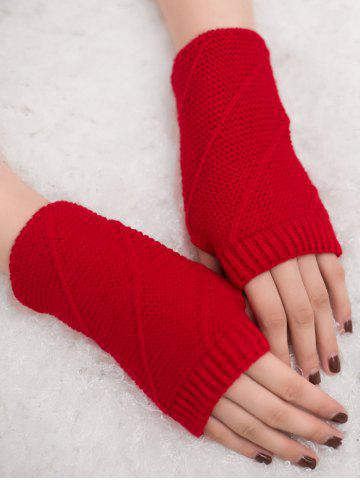 Cheap Outdoor Striped Pattern Exposed Finger Knitted Gloves