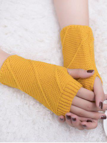 Buy Outdoor Striped Pattern Exposed Finger Knitted Gloves