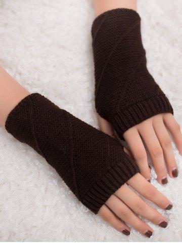 Shop Outdoor Striped Pattern Exposed Finger Knitted Gloves COFFEE