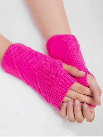 Online Outdoor Striped Pattern Exposed Finger Knitted Gloves - FLUORESCENT ROSE RED  Mobile