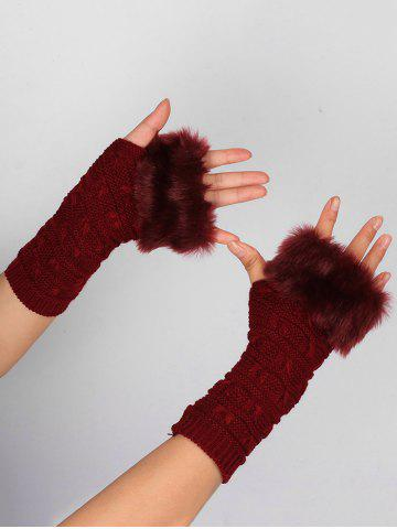 New Soft Fur Winter Knitted Fingerless Gloves - WINE RED  Mobile