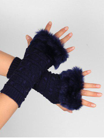 Fashion Soft Fur Winter Knitted Fingerless Gloves - PURPLISH BLUE  Mobile