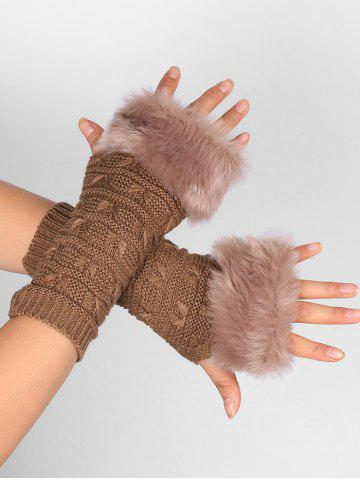 Unique Soft Fur Winter Knitted Fingerless Gloves KHAKI