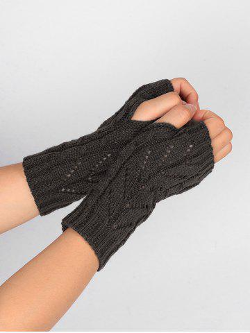 Shop Outdoor Letter V Shape Hollow Out Fingerless Knitted Gloves