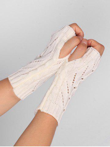 New Outdoor Letter V Shape Hollow Out Fingerless Knitted Gloves