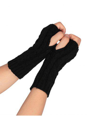 Trendy Outdoor Letter V Shape Hollow Out Fingerless Knitted Gloves BLACK