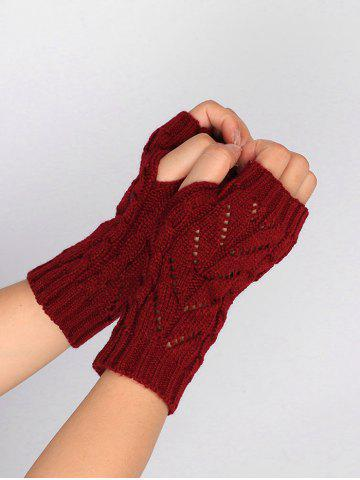 Latest Outdoor Letter V Shape Hollow Out Fingerless Knitted Gloves