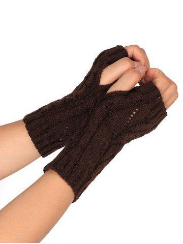 Cheap Outdoor Letter V Shape Hollow Out Fingerless Knitted Gloves