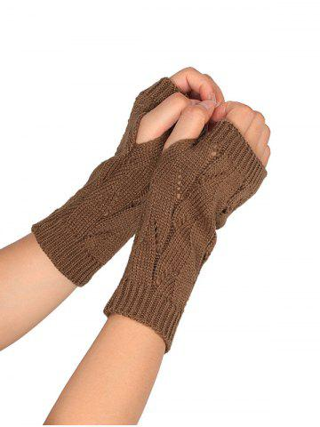 Unique Tree Branch Shape Hollow Out Knitted Fingerless Gloves