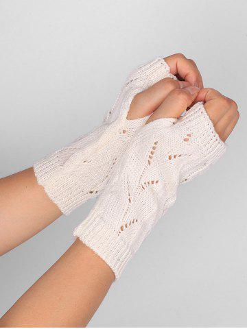 Online Tree Branch Shape Hollow Out Knitted Fingerless Gloves - WHITE  Mobile