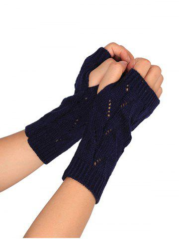 Hot Tree Branch Shape Hollow Out Knitted Fingerless Gloves PURPLISH BLUE