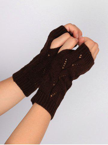 Chic Tree Branch Shape Hollow Out Knitted Fingerless Gloves - COFFEE  Mobile