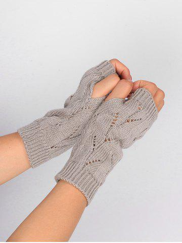 Best Tree Branch Shape Hollow Out Knitted Fingerless Gloves - LIGHT GRAY  Mobile