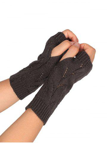 Chic Tree Branch Shape Hollow Out Knitted Fingerless Gloves DEEP GRAY