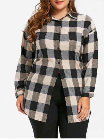 New Plus Size Plaid Patch Pocket Tunic Shirt COLORMIX XL