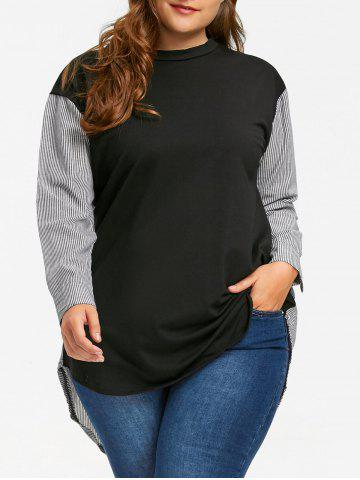 Best Plus Size Pinstripe High Low Hem Sweatshirt - 5XL BLACK Mobile