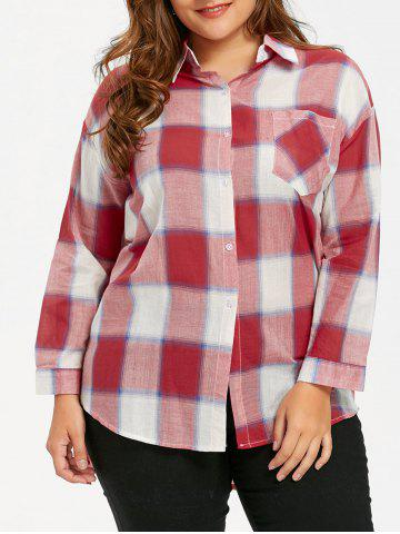Outfit Plus Size Plaid High Low Hem Shirt - 4XL RED Mobile