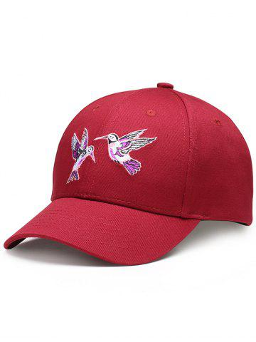 Chic Flying Bird Embroidery Decorated Baseball Hat - RED  Mobile