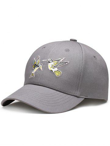 Fancy Flying Bird Embroidery Decorated Baseball Hat - GRAY  Mobile