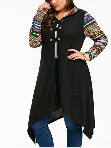 Outfits Plus Size Long Sleeve Handkerchief Hooded Dress - XL BLACK Mobile