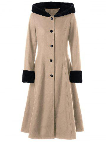 Cheap Hooded Longline Lace Up Coat LIGHT KHAKI XL