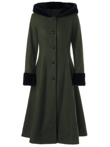 Best Hooded Longline Lace Up Coat - 2XL OLIVE GREEN Mobile