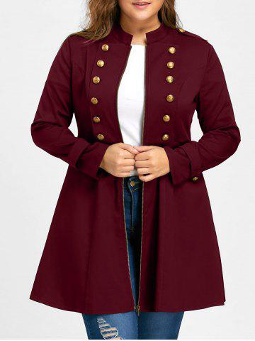 Shop Plus Size Double Breasted Epaulet Flare Coat WINE RED 3XL