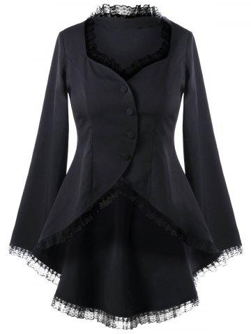 New Sweetheart Neck Lace Trim Dip Hem Coat - XL BLACK Mobile