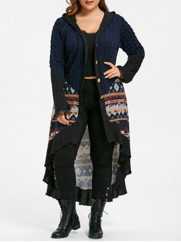 Discount Plus Size Hooded Tribal Print Dip Hem Coat PURPLISH BLUE 3XL