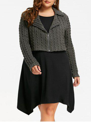 Affordable Plus Size Zip Front Cable Knit Tunic Top - 5XL BLACK AND GREY Mobile