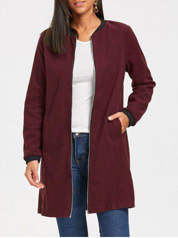 Chic Slim Fit Zip Up Long Coat WINE RED M