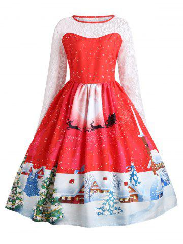 Outfits Plus Size Christmas Santa Claus Lace Sleeve Party Dress RED XL