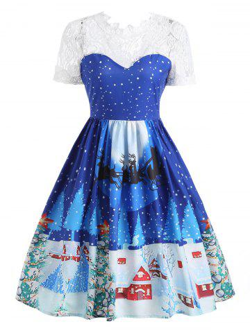 Unique Christmas Print Lace Panel 50s Swing Dress BLUE M