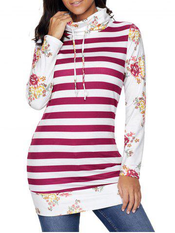Affordable Floral and Striped Cowl Neck Sweatshirt RED M
