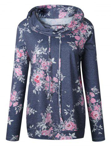 Affordable Cowl Neck Floral Print Hoodie - L GRAY Mobile