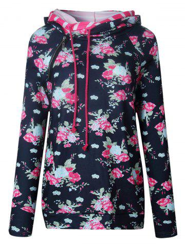 Trendy Floral Striped Insert Hoodie - S BLACK Mobile