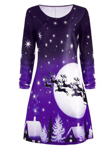 Outfits Christmas Deer Long Sleeve Tee Dress - 2XL PURPLE Mobile