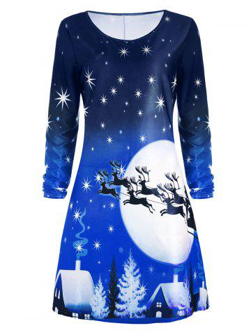 Cheap Christmas Deer Long Sleeve Tee Dress - 2XL BLUE Mobile