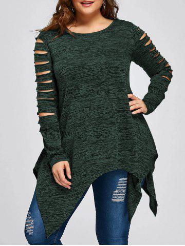 Chic Plus Size Ripped Sleeve Marled Handkerchief Top DEEP GREEN XL