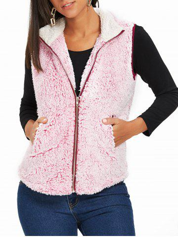 Best Zip Fly Stand Collar Shearling Vest PINK 2XL