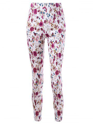 Fashion Patch Pockets Allover Floral Tight Pants COLORMIX L