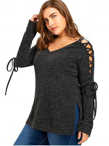 Store Plus Size Long Sleeve Ribbed Side Slit Lace Up Top DARK GREY 2XL