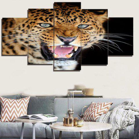 Latest Cool Leopard Unframed Canvas Split Paintings COLORFUL 1PC:8*20,2PCS:8*12,2PCS:8*16 INCH( NO FRAME )