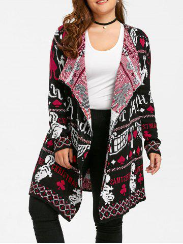 Discount Ugly Christmas Plus Size Sweater Drape Cardigan