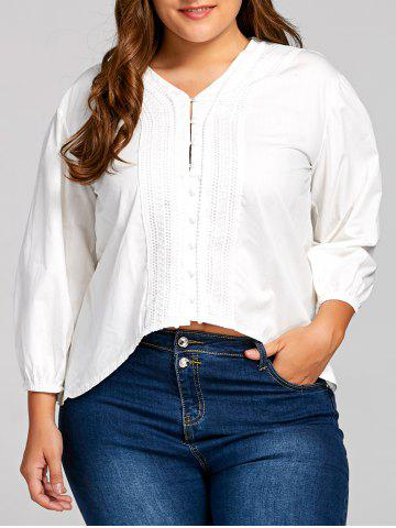 Fashion Plus Size V Neck Balloon Sleeve Peasant Blouse