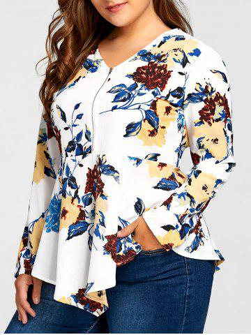 Best Plus Size Asymmetric Half Zipper Floral Long Sleeve Blouse