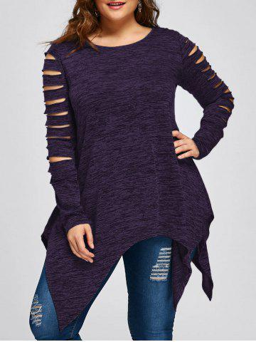 Chic Plus Size Ripped Sleeve Marled Handkerchief Top